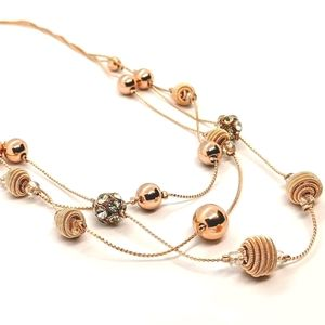♠️+Rose Gold Overlay Triple Strand Bauble Necklace